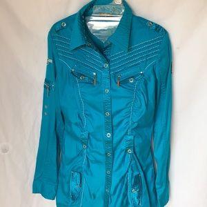 COOGI Long sleeve blue mini shirt dress size Med